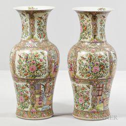 Pair of Famille Rose Floor Vases