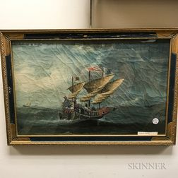 Framed China Trade Oil on Canvas of a Junk and Other Sailing Vessels
