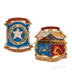 Two Silkwork, Embroidered, and Sequin-embellished State Seal Banners for Texas and Wyoming