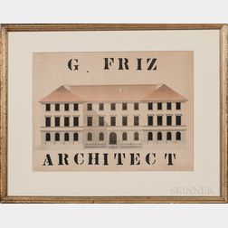 """Pencil, Pen and Ink, and Watercolor """"G. FRIZ/ARCHITECT"""" Rendering of a Building"""