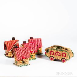 Four Vintage Wooden Beaded House Bags and a Vintage Wooden Beaded Car Bag