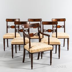 Set of Six Regency-style Inlaid and Carved Mahogany Dining Chairs