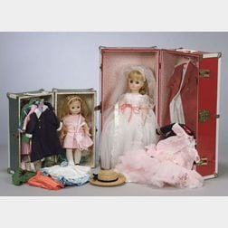 Two Madame Alexander Dolls with Wardrobes