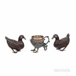 Russian Enameled Silver Bird-form Cup with Two Ducks
