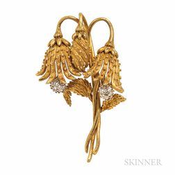 Tiffany & Co. 18kt Gold and Diamond Flower Brooch