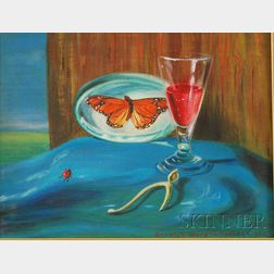Ethelyn Hurd Woodlock (American, 1907-2001)      Surrealist Still Life with Wine Goblet, Wishbone, and Butterfly