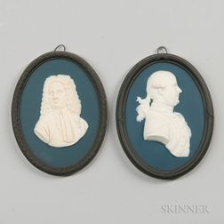 Two Wedgwood Bert Bentley Tricolor Jasper Portrait Medallions