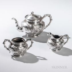 Three-piece Chinese Export Silver Tea Service
