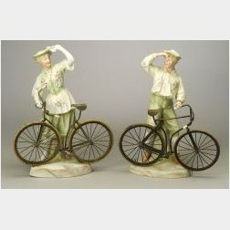 Pair of Heubach Brothers Painted Bisque Porcelain Bicycle Figures