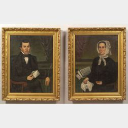 Gloria Welby Fisher (American 19th Century)  Pair of Portraits of a Man and a Woman.