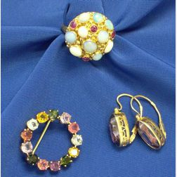 Gold, Black Opal, and Ruby Ring, Gemstone Circle Pin, and 14kt and Synthetic Alexandrite Earring
