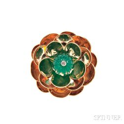 Retro 14kt Gold and Dyed Green Chalcedony Flower Brooch, Cartier