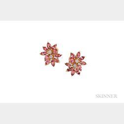 18kt Gold, Pink Tourmaline, and Diamond Flower Earclips, Asprey