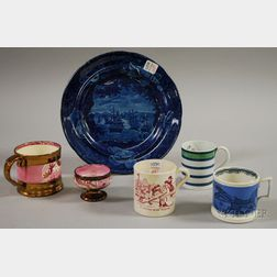 Six Pieces of Assorted English Staffordshire
