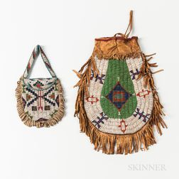 Two Central Plains Beaded Hide Pouches