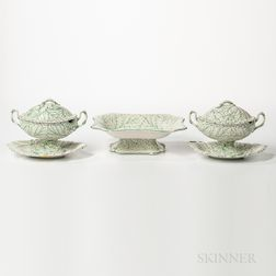 Three Wedgwood Queen's Ware Cabbage Leaf Serving Pieces
