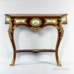 Louis XV-style Mahogany and Satinwood-veneered Ormolu- and Porcelain-mounted Console Table