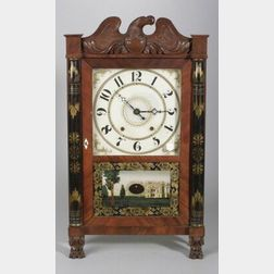 Classical Mahogany Carved and Mahogany Veneer Mantel Clock