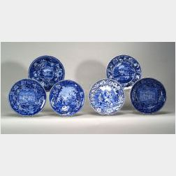 Six Blue and White Transfer Decorated Staffordshire Blue Plates