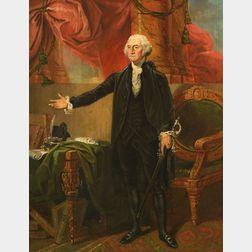 After Gilbert Stuart, (19th Century)    Portrait of George Washington's Lansdowne Portrait by Gilbert Stuart.