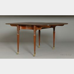 Federal Mahogany Carved Dining Table with Concave Skirt