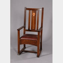 Inlaid Stickley Armchair, In The Harvey Ellis Style