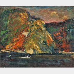 Arthur Clifton Goodwin (American, 1864-1929)      White Boat on the Hudson River