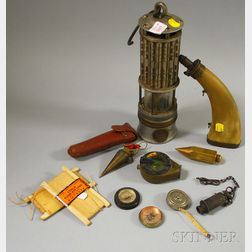 Wolf Safety Lamp Co. Lantern and a Group of Surveyor's Equipment