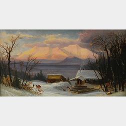 Attributed to Benjamin Champney (American, 1817-1907)      Winter Landscape with Cabin and Mountains.