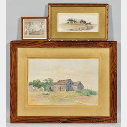 Two Watercolor Portraits of The John Swain House and a Photograph of Same