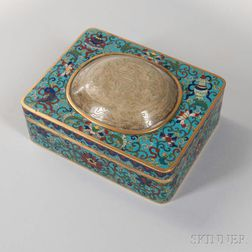 Cloisonne Box with Jade Carving