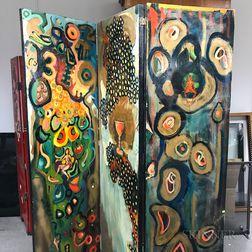 Tilghman Painted Three-panel Folding Screen