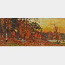 John Joseph Enneking (American, 1841-1916)      Autumn Landscape with Pond