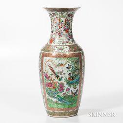 Large Rose Medallion Export Porcelain Baluster-form Vase