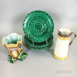 Eight Wedgwood Majolica Sunflower Plates, a Syrup, and a Vase