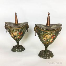 Pair of Tole Acorn Urns