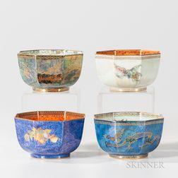 Four Wedgwood Lustre Octagonal Bowls