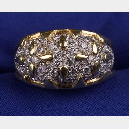 18kt Gold and Pave Diamond Ring
