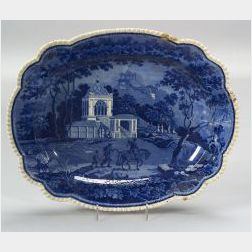 Blue and White Transfer Decorated Staffordshire Platter