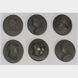 Six Wedgwood Black Basalt Oval Portrait Medallions