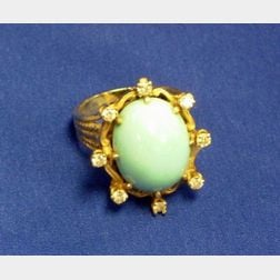 14kt Gold, Diamond Melee and Turquoise Ring