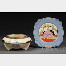 Clarice Cliff Applique Ware Plate and Chrome-mounted Center Bowl in the Idyll (Crinoline Lady) Pattern