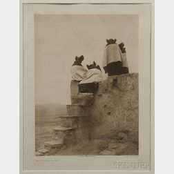 Edward S. Curtis Framed Photogravure   Watching The Dancers