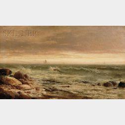 Edward Moran (American, 1829-1901)      Waves on a Rocky Shore