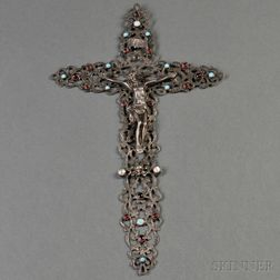 Continental Jeweled Sterling Silver Crucifix