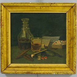 American School, 19th Century      Still Life with Liquor, Cigars, Pipe, Playing Cards, Cowry Shells, and Handbills.