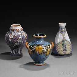 Three Royal Doulton Nouveau/Deco Design Stoneware Vases