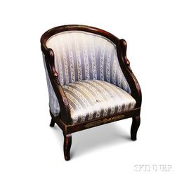 Empire-style Carved Mahogany Upholstered Bergere
