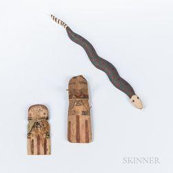 Two Hopi Katsinas and a Painted Wood Snake
