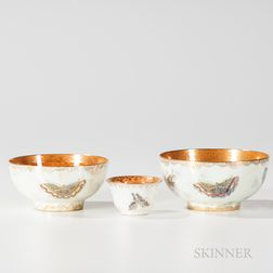 Three Wedgwood Butterfly Lustre Bowls
